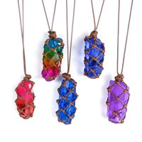 Irregular Natural Crystal Stone Colorful Plated Pendant Necklaces With Chain For Women Men Handmade Rope Braided Jewelry