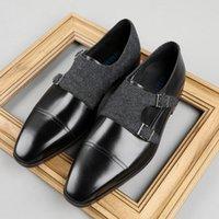 Hommes officiels Oxford Chaussures Véritable Cuir Square Toe Slip sur Wedding Business Double Joine Robe de sangle pour G197