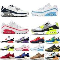 2019 Hot New 90 Hombres Zapatillas Zapatillas Classic 90 Hombres Y Mujeres Zapatos Casuales Negro Rojo Rojo Zapatos deportivos transpirables 36-45 T5-B3