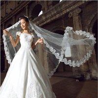 Bridal Veils 1.5 M Veil White Cathedral Length Lace Edge Bride Wedding Long 2021 Headdress