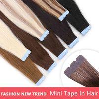 MRS HAIR Mini in Micro Interface Tape Machine Remy 100% Hu Hair Extensions 3x0.8cm Adhive 10pcs pack