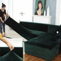 Plush Fabirc Stretch, твердая L-образный бархатный диван крышка, растягивающаяся дивана для гостиной
