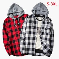 Men's Casual Shirts Men Hooded Shirt Classic Plaid Long Sleeve Clothing Mens Print