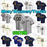 MilwaukeeBrewers.Jerseys Beisebol Christian Yelich # 22 Jersey 19 Robin Yount Lorenzo Caim 8 Ryan Braun Homens Mulheres Juventude 2021