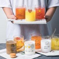 Wine Glasses Japanese Style Creative Printed Heat Resistant Glass Milk Mug Breakfast Coffee Cup Office Transparent Teacup Drinkware Gift