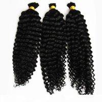 자연 색상 몽골어 아프리카 킨키 벌크 인간의 머리카락 300g 땋는 인간의 머리카락 없음 weft 3pcs 인간의 꼰 머리 대량 곱슬 머리
