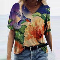 Vintage Harajuku Woman Tshirts Plus Size Short Sleeve Flower Printed V Neck Tops Tee Graphic T Shirts Fashion Summer Wear 5 Women's T-Shirt