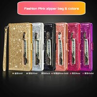 Zipper Wallet Phone Cases for I 13 12 Mini 11 Pro X XR XS Max Samsung Galaxy Note20 S21 S20 Ultra Note10 S10 Plus Shiny Glitter PU Leather Coin Purse Flip Stand Cover