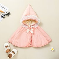 Baby Grils Poncho with Lace Hood Fall 2021 Latest Boutique Clothes for 0-3T Children Cute Outerwear Hooded Cape Coats
