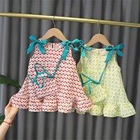 ガールサマースカートプリンセスドレスチュチュ子供ノースリーブドレス女の子ファッションストライプ服弓かわいいショルダーセット2彩1370 B3