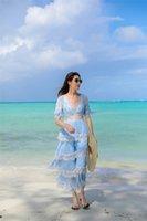 Australien Sommerurlaub Kleid Spitze Nähte Layered Sexy Kuchenart