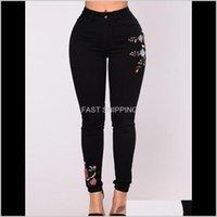 Feminino jeans vestuário mulheres impressão floral preto sexy magro moda denim longa calças de roupa roupas skinny dro nemyg