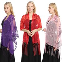 Scarves Four Seasons Sequin Embroidered Tassel Women's Shawlevening Dress Wedding Party Evening Shawl Bridal Lady Scarf Sexy