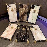 Luxo 3D Glitter Blu-Ray Square Silicone Case para iPhone 12 11 Pro Max XR XSMAX 7 8 PLUS 12mini Moda Fashion Resistance Telefone Capa