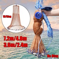 7-Style American Hand Cast Net with Flying Disc High Strength Fly Cast Fishing Network 7.2 4.8 3.6 2.4M Throw Net Ring No Ring Large Nets