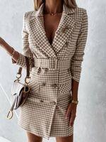 Casual Dresses Vintage Double Breasted Belt Plaid Dress Women Elegant Office Ladies Blazer Long Sleeve Female Autumn Mini