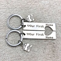 1 2pcs Home Engraved Our First House Keychain 2021 Couples Household Warning Gifts Beautiful Poison for Owners