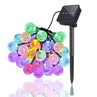 25mm LED Solar String Light Garland Decoration 8 models 20 Heads Crystal Bulbs Bubble Ball Lamp Waterproof For Outdoor Garden GWE10286