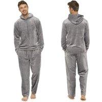 الشتاء طويل الأكمام سميكة الدافئة الفانيلا بيجامة مجموعات للرجال الذكور مجموعة صالة المنزل ملابس المنزل # G2 الرجال رياضية
