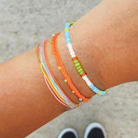 3pcs lot Colorful Beads Bracelets for Women Handmade Jewelry Summer Rope Bracelet