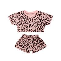 Baby Girls Algodón Leopardo Grano Impreso de manga corta O-Cuello Ropa de verano Camiseta de verano + Pantalones cortos Niños Niños Chicas Outfits Casuales