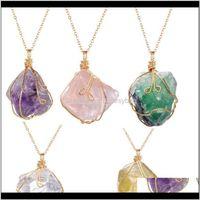 Pendant Jewelryirregular Natural Stone Quartz Crystal Necklaces & Pendants Reiki Pendulum Healing Handmade Wire Wrapped Necklace Women Jewelr