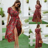 여름 드레스 2021 여성 캐주얼 V 넥 레이스 위로 불규칙 보헤미안 휴가 인쇄 여성 휴가 섹시한 해변 드레스 # 5 수영복