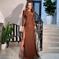 Casual Dresses Lygens Bling Glitter Luxury Long Sleeve Party Club Birthday Maxi Sexy Dress Slit Backless Bodycon 2021 Autumn Winter Clothes