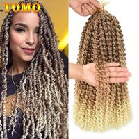 TOMO Long Ombre Blonde Water Wave 14 18 22inch Passion Twist Bohemian Braid Crochet Braiding Synthetic Hair Extension