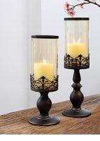 Eisen Retro Kerzenständer Glas Romantische Kerzenhalter Home Restaurant Abendessen Bougeoir en Verre Tall Inhaber MM60ZT