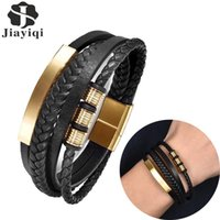 Charm Bracelets Mutilayer Leather Bracelet For Men Stainless Steel Magnetic Clasps Bangle Punk Vintage Arrival Male Jewelry Party Gift