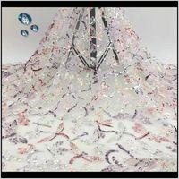 Одежда одежды бусины вышивка африканские блестки высококачественные нигерийские тюль сетка ткань для свадебной последовательности кружева падение 2021