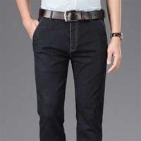 Business Hommes Haute Taille De Denim Pantalon Trendy Mode Stretch Lâche Droite Droite Droite Jeunes personnes âgées Mini-âgée Pantalon 211011