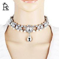 Girocollo del tatuaggio del rhinestone per le donne collane di perle simulate di cristallo di cristallo color argento Color vintage Moda Lace Chokers Gothic
