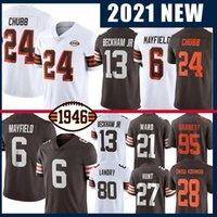 Cleveland Browns 6 Baker Mayfield American Football Jersey 95 Myles Garrett 24 Nick Chubb 28 Jeremías Owusu-Koramoah 2 Greg Newsome II 13 Odell Beckham Jr.