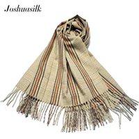 Шарфы Joshuasilk зимняя леди шерсть маленький клетчатый шарф для увеличения густой теплой и удобной многофункциональной шали ретро стиль