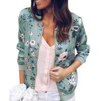 Women's Jackets Woman's Coat Jacket Flower Print Classic Short Autumn Zipper Cardigan Baseball Uniform Outwear Top