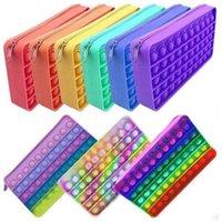 Toys Handbag Coin Purse Fidget Pencil Case Messenger Bag Decompression Toy Finger Silicone Rainbow Pendant Push Bubble Keychain Handbags