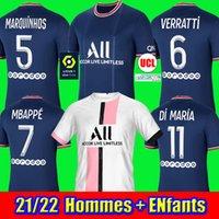 탑스 MBappe 축구 유니폼 Hakimi Sergio Ramos 21 22 Maillots de Football Shirt 2021 2022 Marquinhos Verratti 남성 키트 제복을 입은 Maillot Foot 4