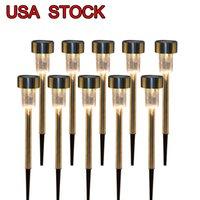 Stock en EE. UU. RGB 5W Alto Brillo Potencia solar LED Lámparas de césped con lámparas Lente de vidrio de plata blanca, impermeable, Warmwhite