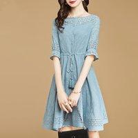 cut Casual Dresses temperament out lace edge dress Women's autumn five point sleeve high waist A-line skirt