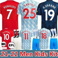 Ronaldo 21 22 22 Sancho Soccer Jersey Bruno Fernandes Manchester Lingard Pogba Rashford Greenwood United Cavani Camisas de futebol 2021 2022 Homens Kit Kits Sets Jerseys