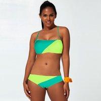 بيكيني ملابس السباحة فتاة انقسام شنقا الرقبة لون النقيض مثير أزياء ثلاث نقاط