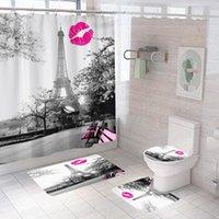المناظر الطبيعية برج ايفل باريس مطبوعة الحمام دش الستار مجموعة للماء مكافحة زلة الركيزة البساط غطاء المرحاض غطاء الحمام حصيرة الستائر