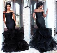 Designer African Amazing Black Plus Size Mermaid Evening Dresses Off Shoulder Cap Sleeves Open Back Ruffled Full Length Pageant Gowns Party Prom Dress Custom
