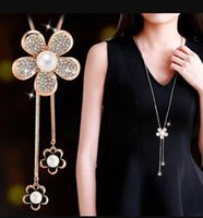 Sweater Chain Pendants Necklaces Quality Shine Jewelry Austrian Crystal Fashion Swan Star Lucky Flowers Fox Dancing Girl DFF4298