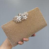 Women Wedding Handbags Bridal Crystal Clutch Rhinestone Evening Bags Party Purse Flower Bag