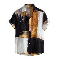 Men's Casual Shirts Mens Vintage Ethnic Style Printing Loose Short Sleeve Turn-down Collar Shirt Button Harajuku Blouse Office Big