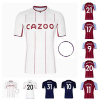 21 22 ASTON SOCCER JERSEYS VILLA HOME 2021 2022 SAMATTA Target Target Grealish Wesley Douglas Luiz McGim Football Shirts Jersey rouge