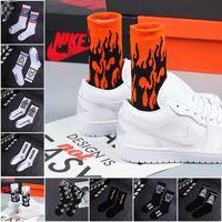 1 pair Men Fashion Hip Hop Hit Color On Fire Crew Socks Red Flame Blaze Power Torch Hot Warmth Street Skateboard Cotton Socks
